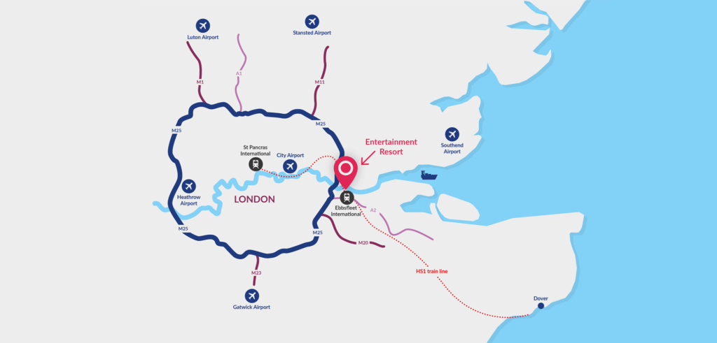 Map showing the location of The London Resort near Dartford