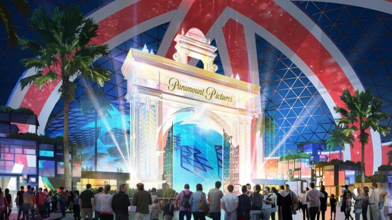 Artist rendering of the main entrance to The London Resort dominated by a Paramount Pictures Arch and Uninion Jack covered dome.