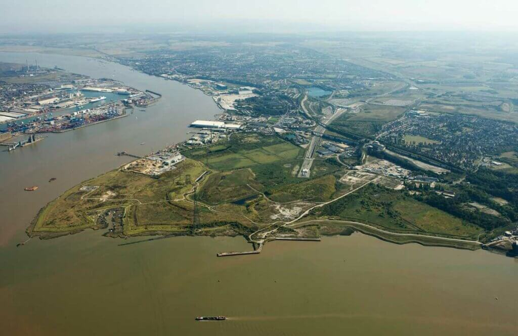 Ariel view of the proposed site at Swanscombe
