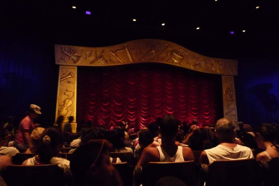 Indoor seated shows like here at Mickey's Philharmagic will be forced to have a lot more empty seats.