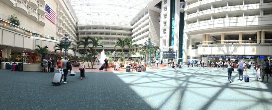 Tourists throng the bust Orlando International Terminal