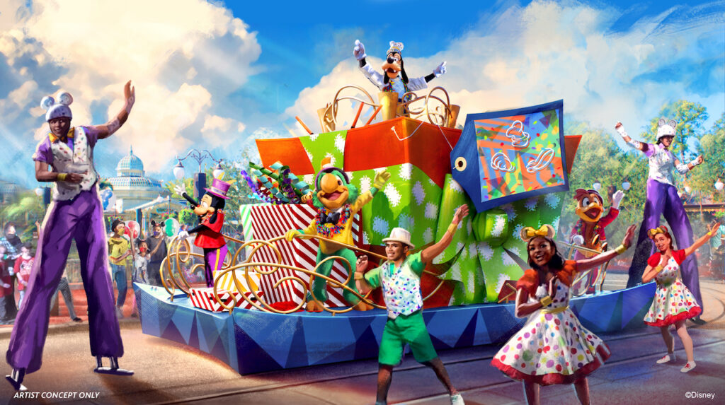Artist impression of new character interactions using the parade route in Magic Kingdom