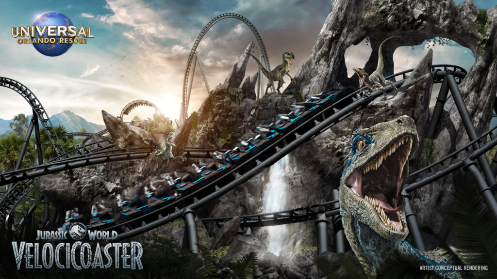 concept artwork for the now officially announced Velocicoaster at Universal Islands Of Adventure