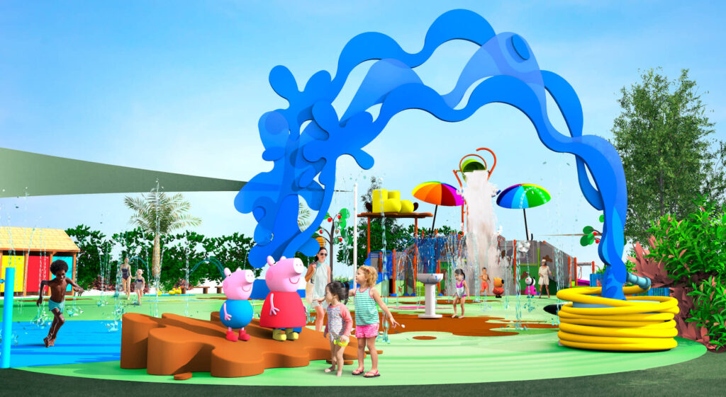 artist rendering of the new Muddy Puddles Splash Pad play area